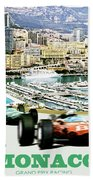 Monaco Grand Prix Racing Poster - Original Art Work Beach Towel