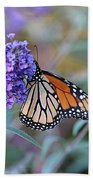 Monarch Butterfly And Purple Flowers Beach Towel