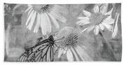 Monarch Butterfly In Black And White Beach Towel