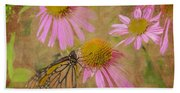 Monarch Butterfly In Pink Beach Towel