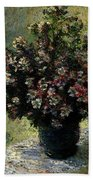 Monet Claude Vase Of Flowers Beach Towel