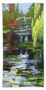 Monets Garden Painting Palette Knife Beach Towel