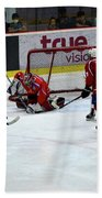 Mongolia Team Players Defend Goal Vs Malaysia In Ice Hockey Match In Rink Bangkok Thailand Beach Towel