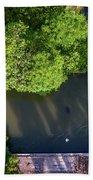 Monk Rowing Boat Along Floating Market Aerial View Beach Towel by Pradeep Raja PRINTS