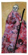 Monk With Walking Stick Beach Towel
