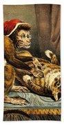 Monkey Physician Examining Cat For Fleas Beach Towel