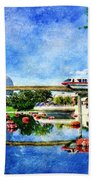 Monorail Red - Coming 'round The Bend Beach Towel