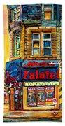 Monsieur Falafel Beach Towel by Carole Spandau