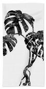 Monstera Leaf-black Beach Towel