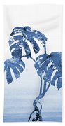 Monstera Leaf-blue Beach Towel