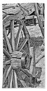 Montana Old Wagon Wheels Monochrome Beach Towel