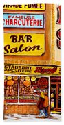 Montreal Paintings Dunns Restaurant Streets Of Montreal Beach Towel