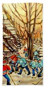 Montreal Street Hockey Paintings Beach Towel