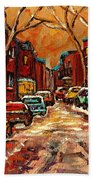 Montreal Streets In Winter Beach Towel