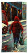 Montreal Streets Winter Morning Beach Towel