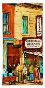 Montreal Streetscene Artist Carole Spandau Paints Schwartzs Main Street Hustle Bustle Beach Towel
