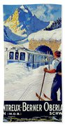 Montreux, Berner Oberland Railway, Switzerland, Winter, Ski, Sport Beach Towel