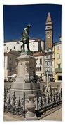 Monument And Statue Of Giuseppe Tartini At Tartini Square Piran  Beach Towel