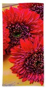 Moody Red Gerbera Dasies Beach Sheet