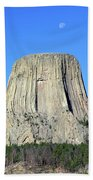 Moon And Devil's Tower National Monument, Wyoming Beach Towel