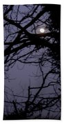 Moon In Inky Blue Sky Beach Towel