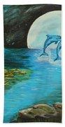 Moon Light Swim  Beach Towel