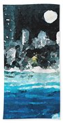 Moon Over Miami Beach Towel by Jorge Delara