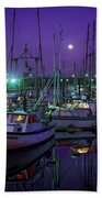 Moon Over Winchester Bay Beach Towel