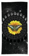 Moon Phase Pendulum With Butterfly  Beach Towel