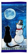 Moon Watching With Snowman - Christmas Cat Beach Towel