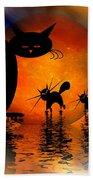 Mooncat's Catwalk Beach Towel by Issabild -