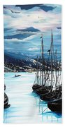 Moonlight Over Port Of Spain Beach Towel
