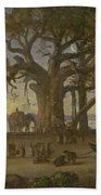 Moonlit Scene Of Indian Figures And Elephants Among Banyan Trees. Upper India Beach Towel