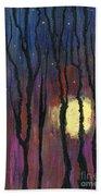Moonrise In December Beach Sheet