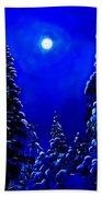 Moonshine On Snowy Pine Beach Towel
