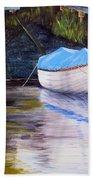 Moored Rowing Boat Beach Towel
