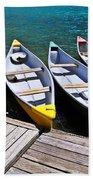 moraine lake in banff national park, alberta, Canada Beach Towel