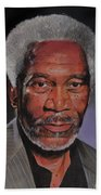 Morgan Freeman Portrait Beach Towel