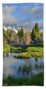 Morning Clouds Over Tetons Beach Towel