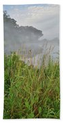 Morning Fog On Glacial Park Pond Beach Towel