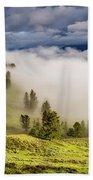 Morning Fog Over Yellowstone Beach Towel