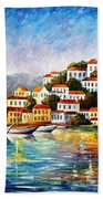 Morning Harbor - Palette Knife Oil Painting On Canvas By Leonid Afremov Beach Towel