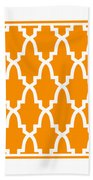 Moroccan Arch With Border In Tangerine Beach Towel