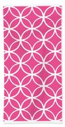 Moroccan Endless Circles I With Border In French Pink Beach Towel