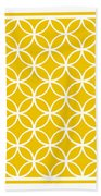 Moroccan Endless Circles I With Border In Mustard Beach Towel