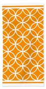 Moroccan Endless Circles I With Border In Tangerine Beach Towel