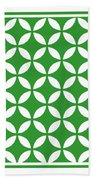 Moroccan Endless Circles II With Border In Dublin Green Beach Towel