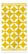 Moroccan Endless Circles II With Border In Mustard Beach Towel