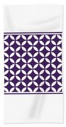 Moroccan Endless Circles II With Border In Purple Beach Towel