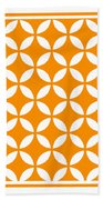 Moroccan Endless Circles II With Border In Tangerine Beach Towel